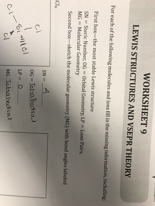 Solved Worksheet 9 Lewis Structures And Vsepr Theory For