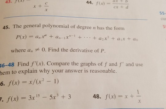 Solved: Question 45  It's Derivative Of General Polynomial