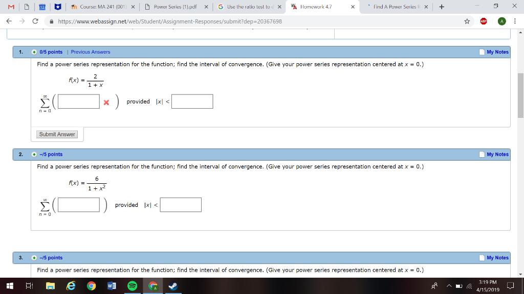 Solved: M D Course: MA 241 (001 × D Power Series(1) pdf