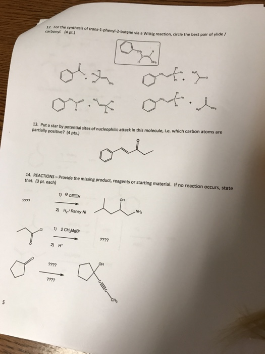 Solved: 12  For The Synthesis Of Trans-1-phenyl-2-butene V