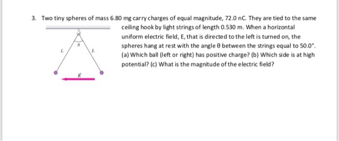 . Two tiny spheres of mass 6.80 mg carry charges of equal magnitude, 72.0 nC. They are tied to the same ceiling hook by light