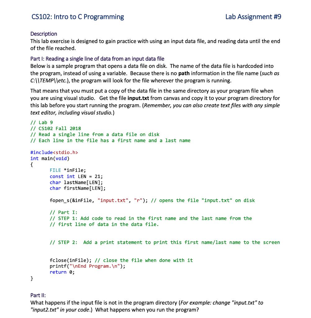 Lab Assignment #9 CS102: Intro To C Programming De