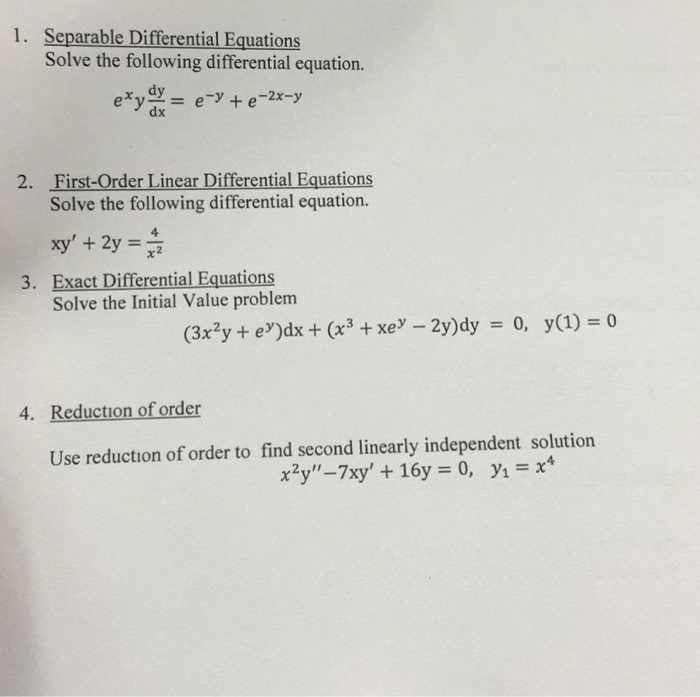 Solved: 1  Separable Differential Equations Solve The Foll