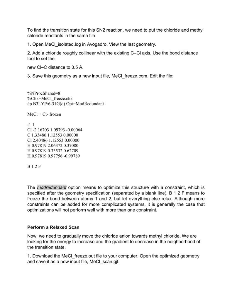 CHEM517 TUTORAL 5 Locating Transition States Using    | Chegg com