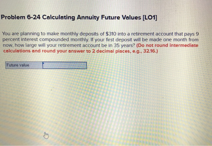 solved problem 6 24 calculating annuity future values lo