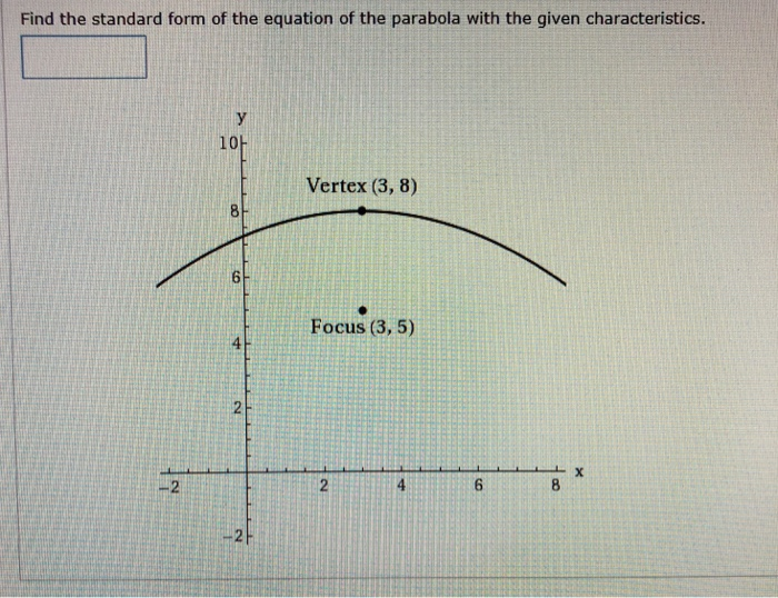 Find the standard form of the equation of the parabola with the given characteristics. 10 Vertex (3, 8) Focus (3, 5) 4 4 -2H