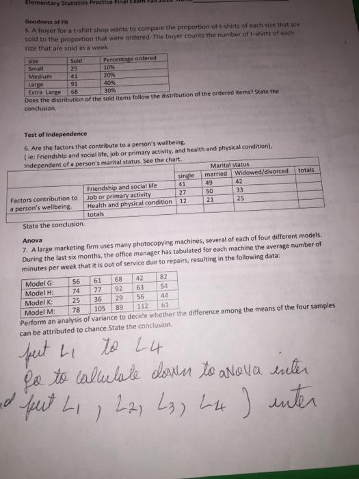 Solved: Tlementary Statistics Practice Final Exäm A Goodne