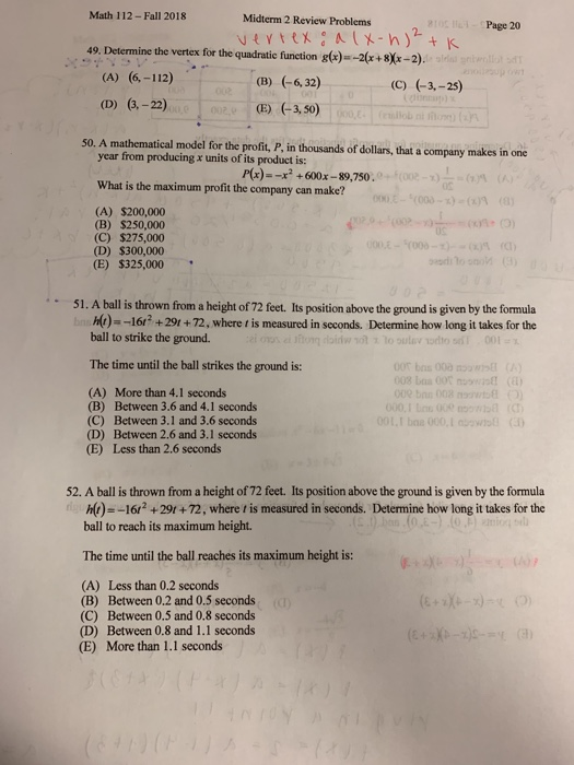 Solved: Math 112 - Fall 2018 Midterm 2 Review Problems 210