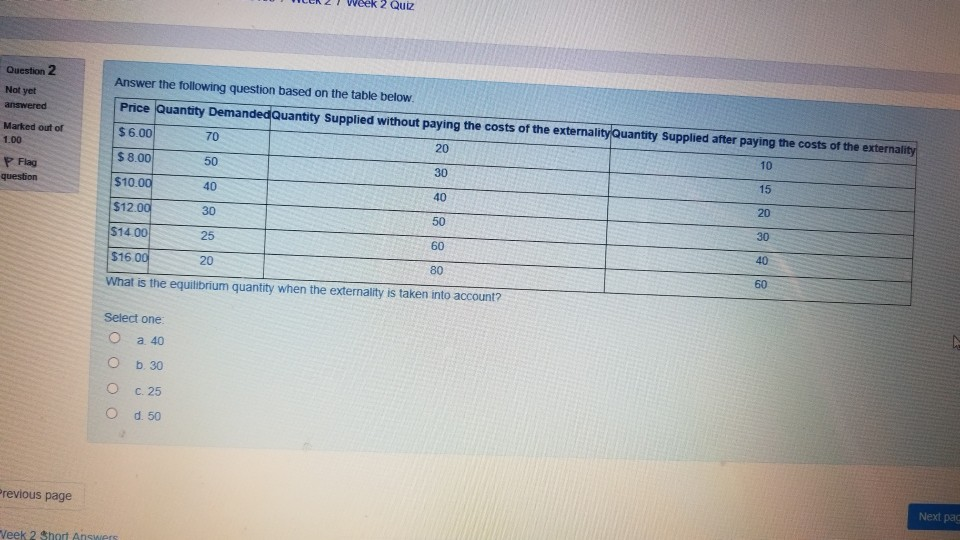 Solved: Ek2Week 2 Quiz Question 2 Answer The Following Que