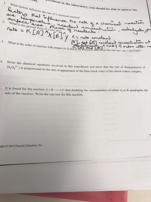 Solved: What Factors Influence The Rate Of A Chemical Reac ... on maintenance form, drug abuse risk assessment form, computer form, marketing form,