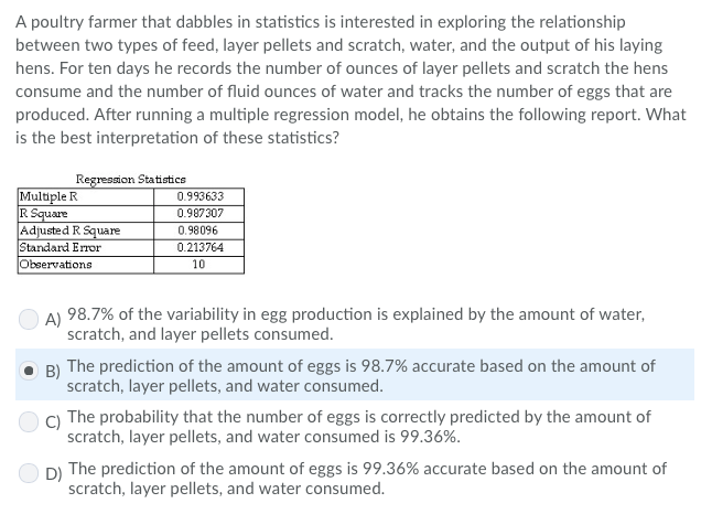 Solved: A Poultry Farmer That Dabbles In Statistics Is Int