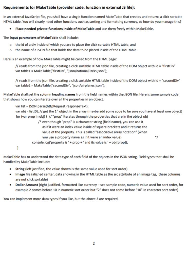 JavaScript (Simple) Framework Homework Overview: I