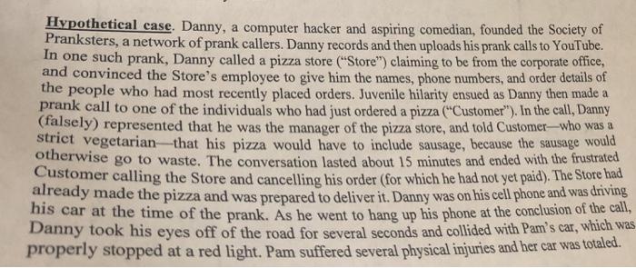 Solved Case Brief Danny Vs Pam Pizza Hut And The Custom Chegg Com