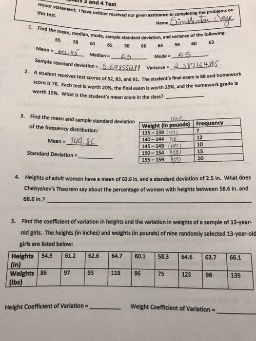 Piels 3 and 4 Test nor statement: I have neither received nor given this test. 1. Find the sample standard deviation, and variance of the following: Mode 6 scores of 52, 83, and 91. The students final exam is 88 and homework mean, median, mode, standard 65 78 61 65 58 66 65 59 60 63 Sample standard deviation- _5-6GRSsuri Variance- 20%, the final exam is worth 25%, and the homework grade is worth 15%, what is the students mean score in the class? 3. Find the mean and sample standard deviation Weight (in pounds) Freguens of the frequency distribution: 135-139 (7 12 10 15 20 Mean-144.2 140-144 145-149 un 150-154 is2) 155-159 Standard Deviation Heights of adult women have a mean of 63.6 in. and a standard deviation of 2.5 in. What does Chebyshevs Theorem say about the percentage of women with heights between 58.6 in. and 68.6 in.? 4. 5. Find the coefficient of variation in heights and the variation in weights of a sample of 13-year- old girls. The heights (in inches) and weights (in pounds) of nine randomly selected 13-year-old girls are listed below: Heights 54361.2 62.664.7 60.1 58.3 646 63.7 66.1 (in) Weights 8697 93119 9675 12398 139 (lbs) Height Coefficient of Variation Weight Coefficient of Variation