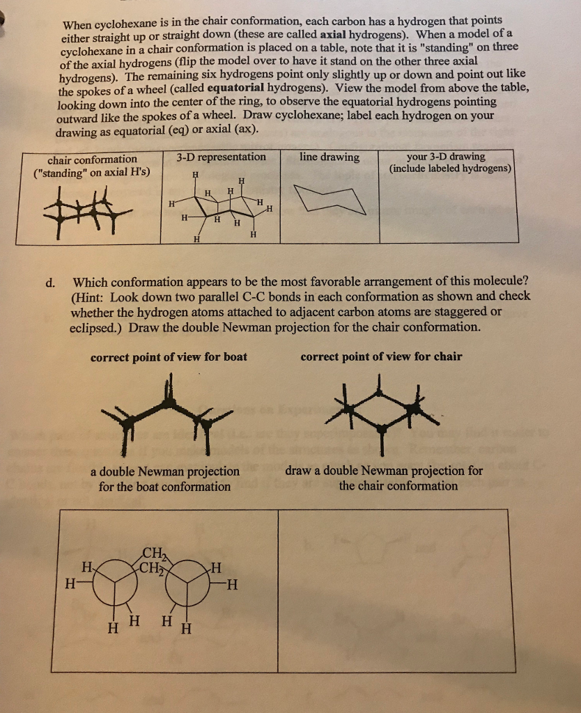 Solved When Cyclohexane Is In The Chair Conformation Eac Chegg Com
