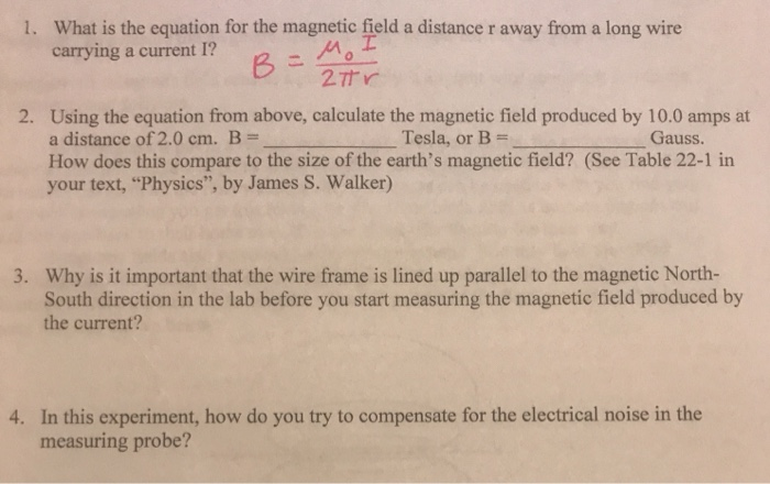 Solved what is the equation for the magnetic field a dist question what is the equation for the magnetic field a distance r away from a long wire carrying a current greentooth Images