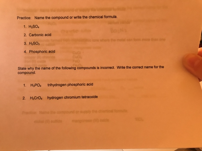 Solved Name The Compound Or Write The Chemical Formula H