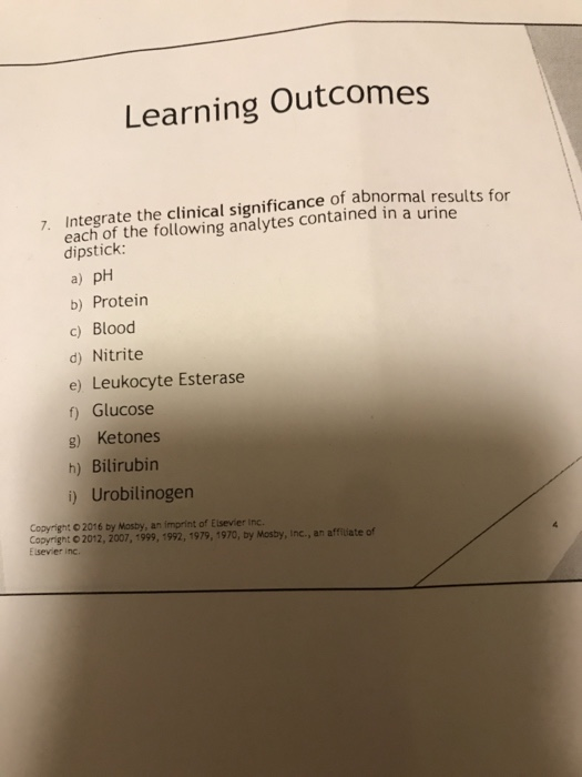 Solved: Learning Outcomes 7  Integrate The Clinical Signif