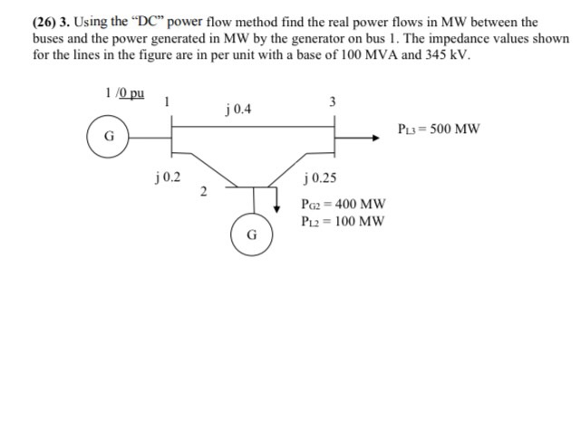Solved 26 3 Using The Dc Power Flow Method Find The