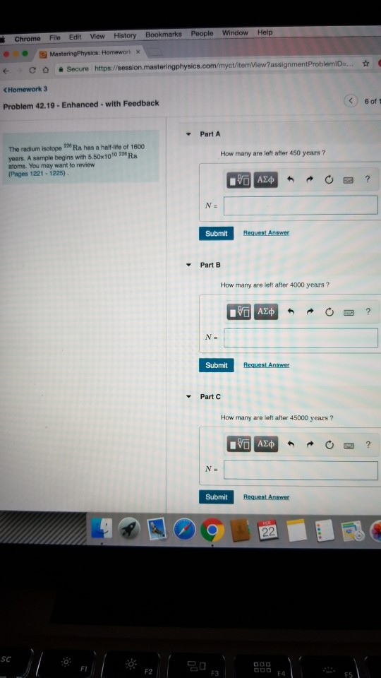 Chrome File Edit View History Bookmarks People Window Help Homework x О С О 을 https://session.masteringphysics.com/myct/itemV