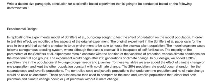 a scientific conclusion