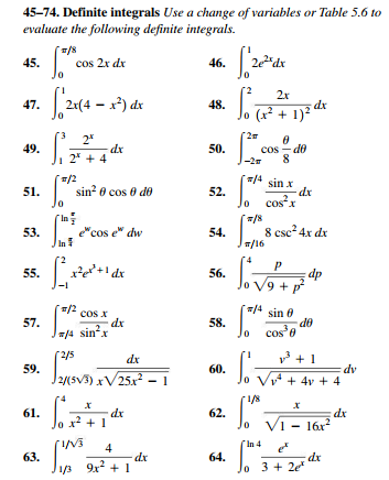 Solved 45 74 Definite Integrals Use A Change Of Variable