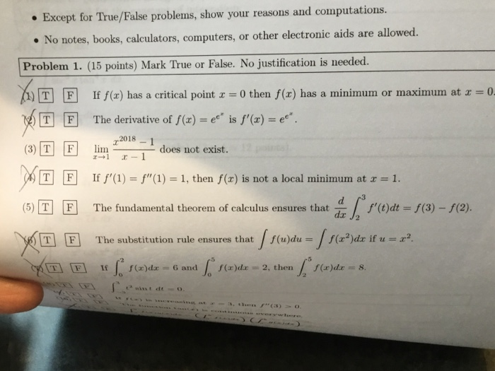 Solved: Except For True/False Problems, Show Your Reasons
