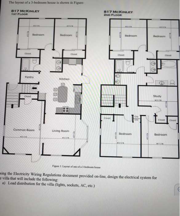 wiring house floor plan the layout of a 3 bedroom house is shown in figure chegg com  the layout of a 3 bedroom house is