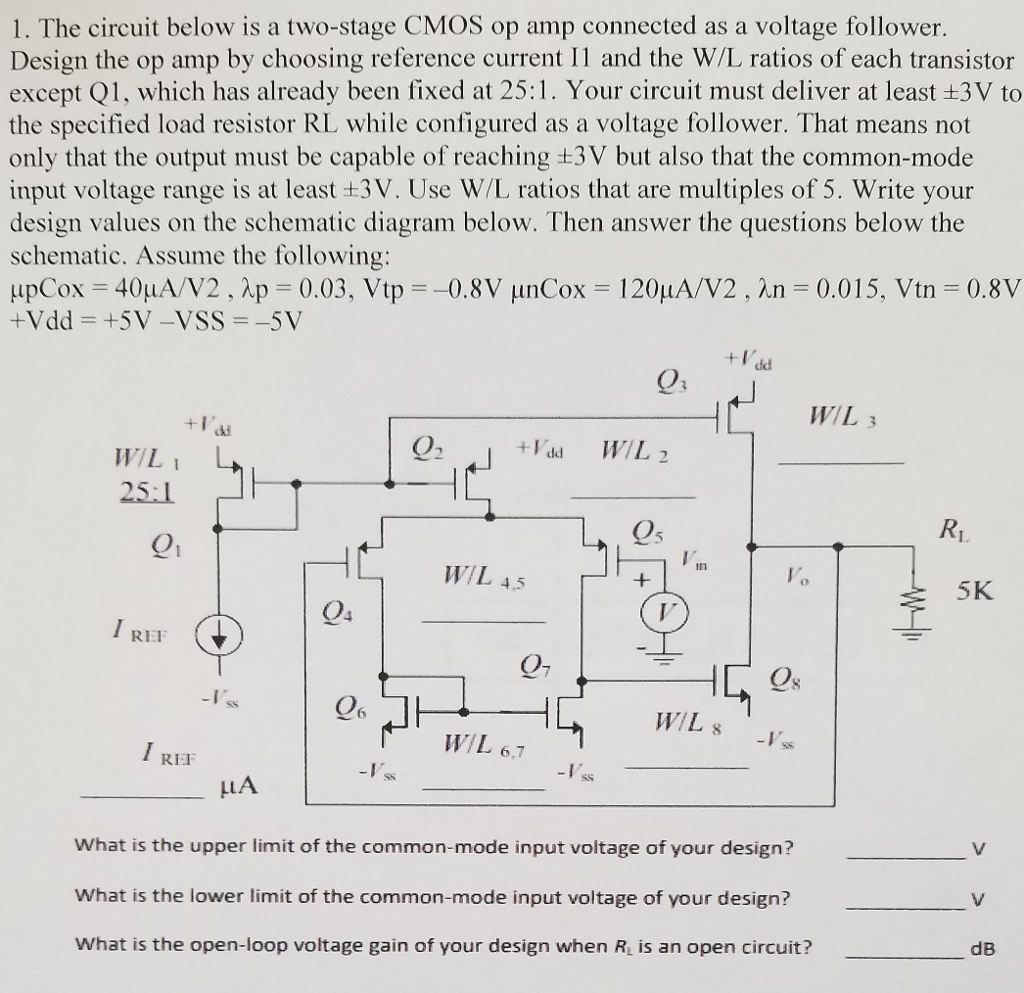 1 The Circuit Below Is A Two Stage Cmos Op Amp Co Voltage Follower Connected As