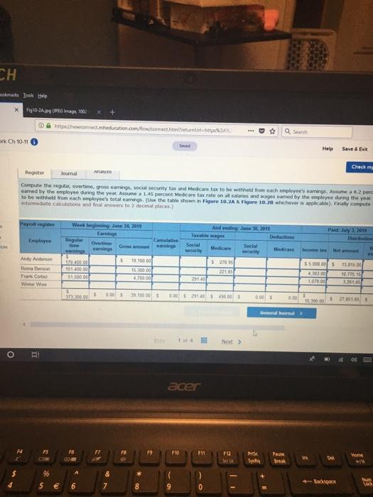 ICH QSeach Hep Save\u0026Exit Submit Journalizing Payro... | Chegg.com
