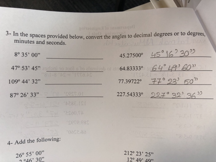Aces Provided Below Convert The Angles To Decimal Degrees Or Minutes And Seconds