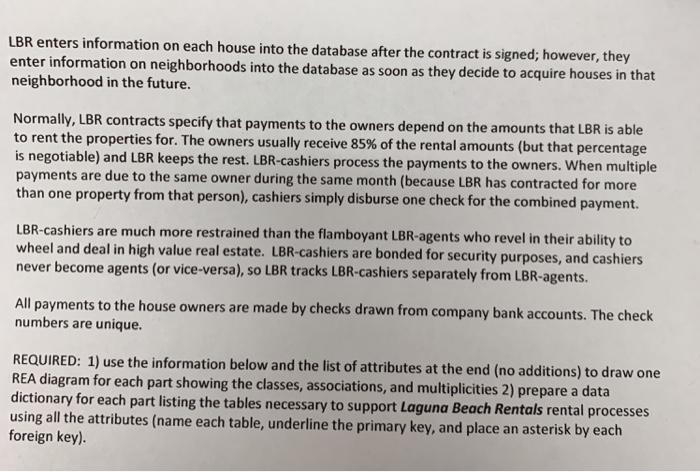 lbr enters information on each house into the database after the contract  is signed