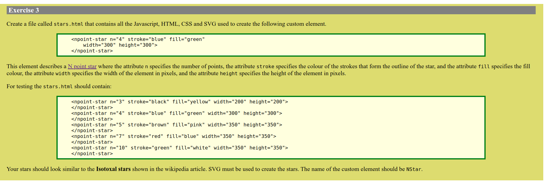 Solved Exercise 3 Create A File Called Stars Html That Co Chegg Com
