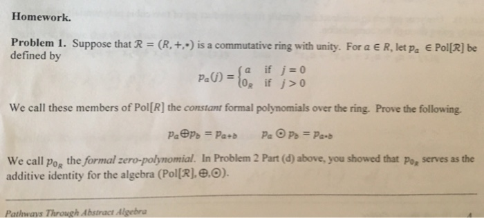 ring homomorphism homework