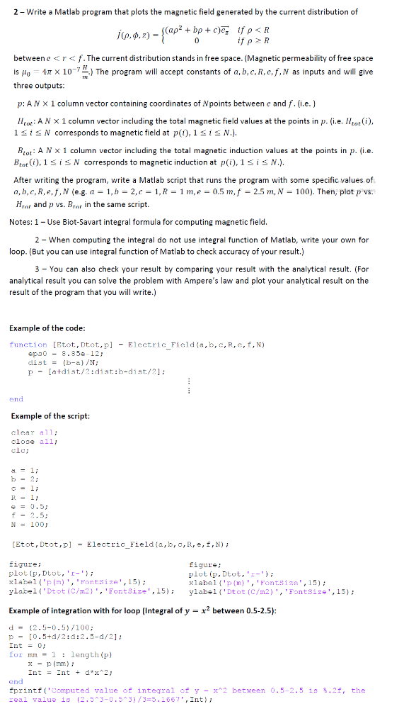2-Write A Matlab Program That Plots The Magnetic F