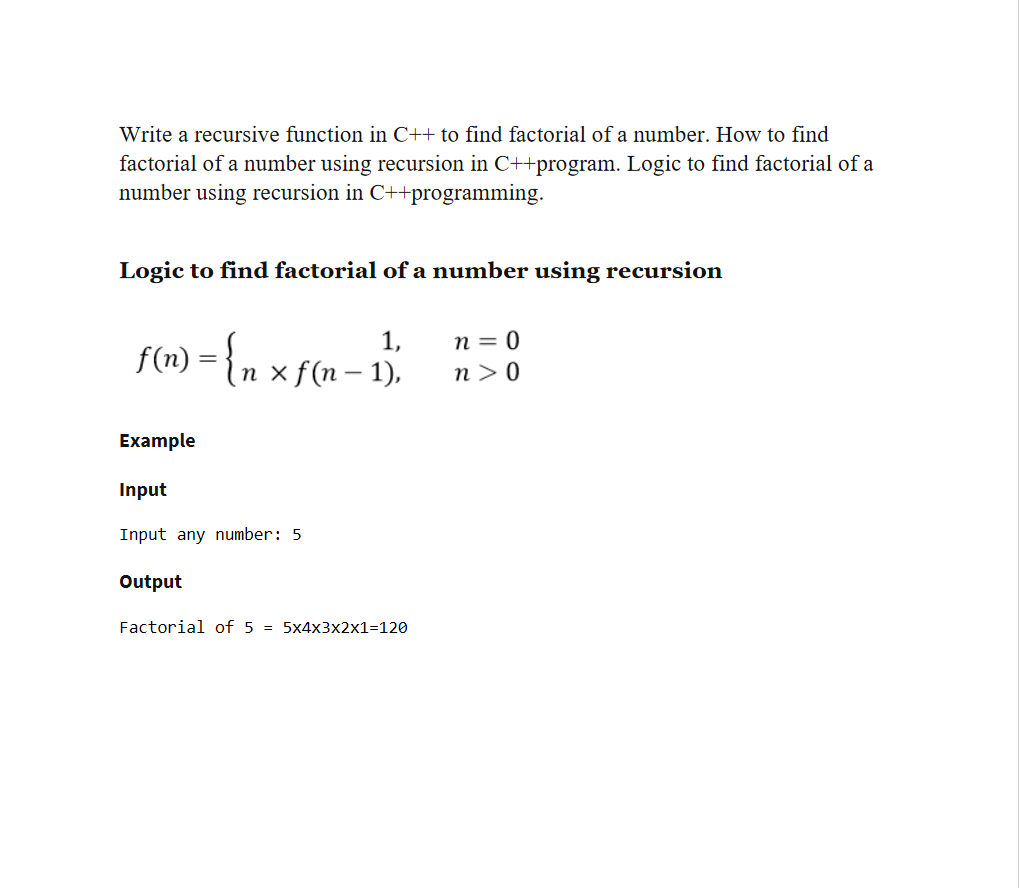 write a recursive function in c to find factorial