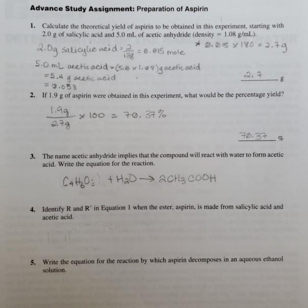 Advance Study Assignment Preparation Of Aspirin 1 Chegg Com