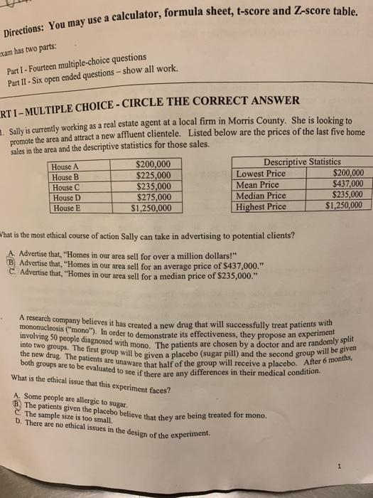 Solved: Calculator, Formula Sheet, T-score And Z-score Tab
