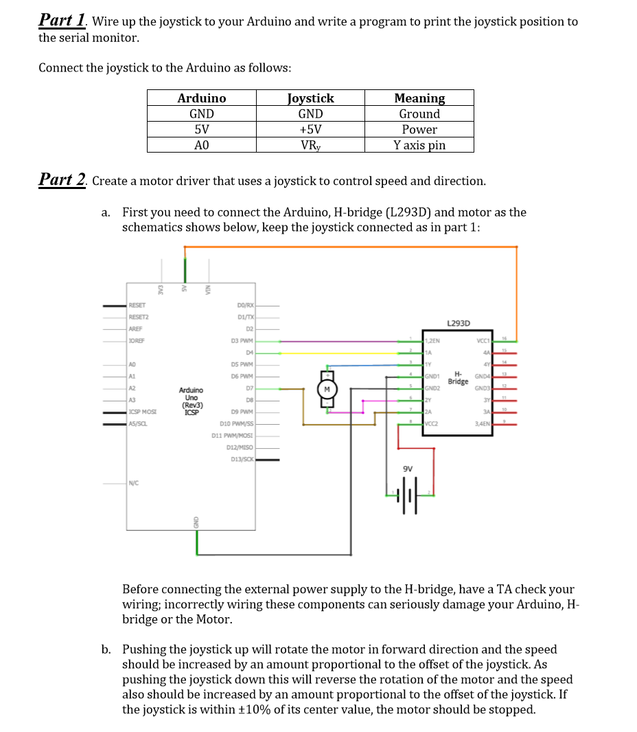 Solved Part 1 Wire Up The Joystick To Your Arduino And W Chegg Com
