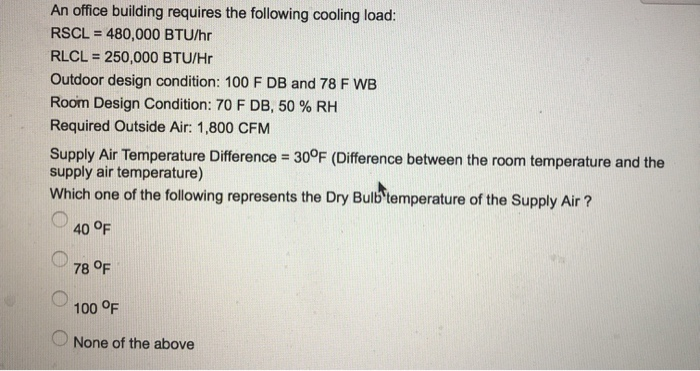 An office building requires the following cooling load: RSCL = 480,000 BTU/hr RLCL 250,000 BTU/Hr Outdoor design condition: 1