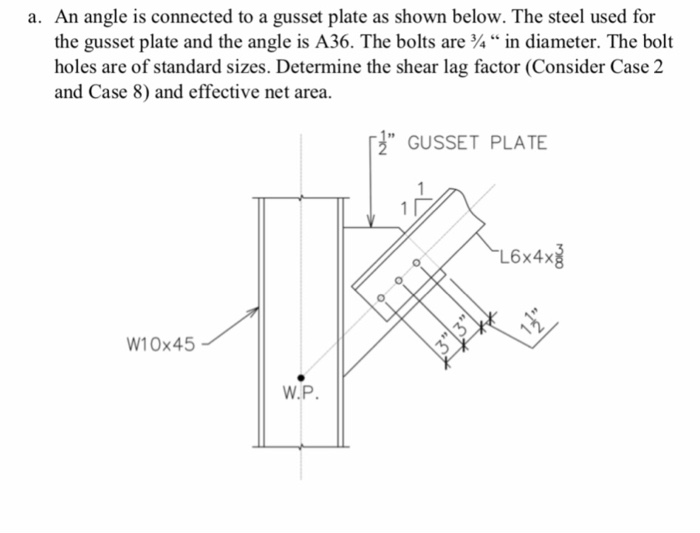 a. An angle is connected to a gusset plate as shown below. The steel used for the gusset plate and the angle is A36. The bolt