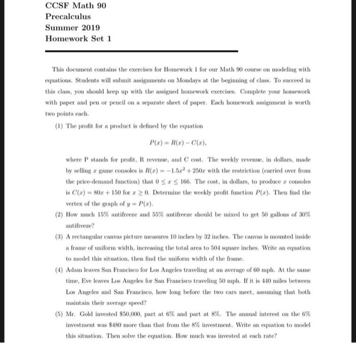 Ccsf Summer 2019 Schedule Solved: CCSF Math 90 Precalculus Summer 2019 Homework Set