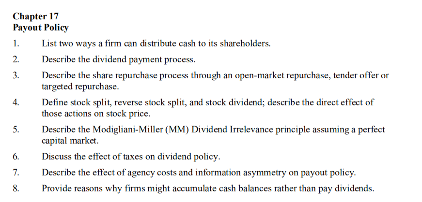 payout policy corporate finance