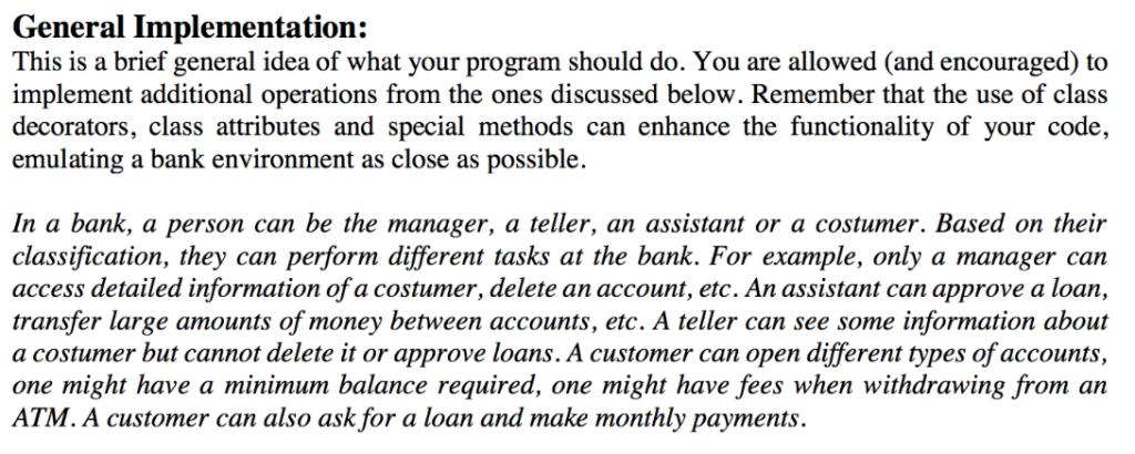 In Python, Create A Program That Emulates A Bank U