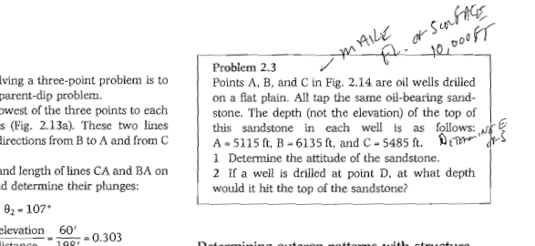 MAILE of surfaces 46,000ff ving a three-point problem is to parent-dip problem. west of the three points to each $ (Fig. 2.13