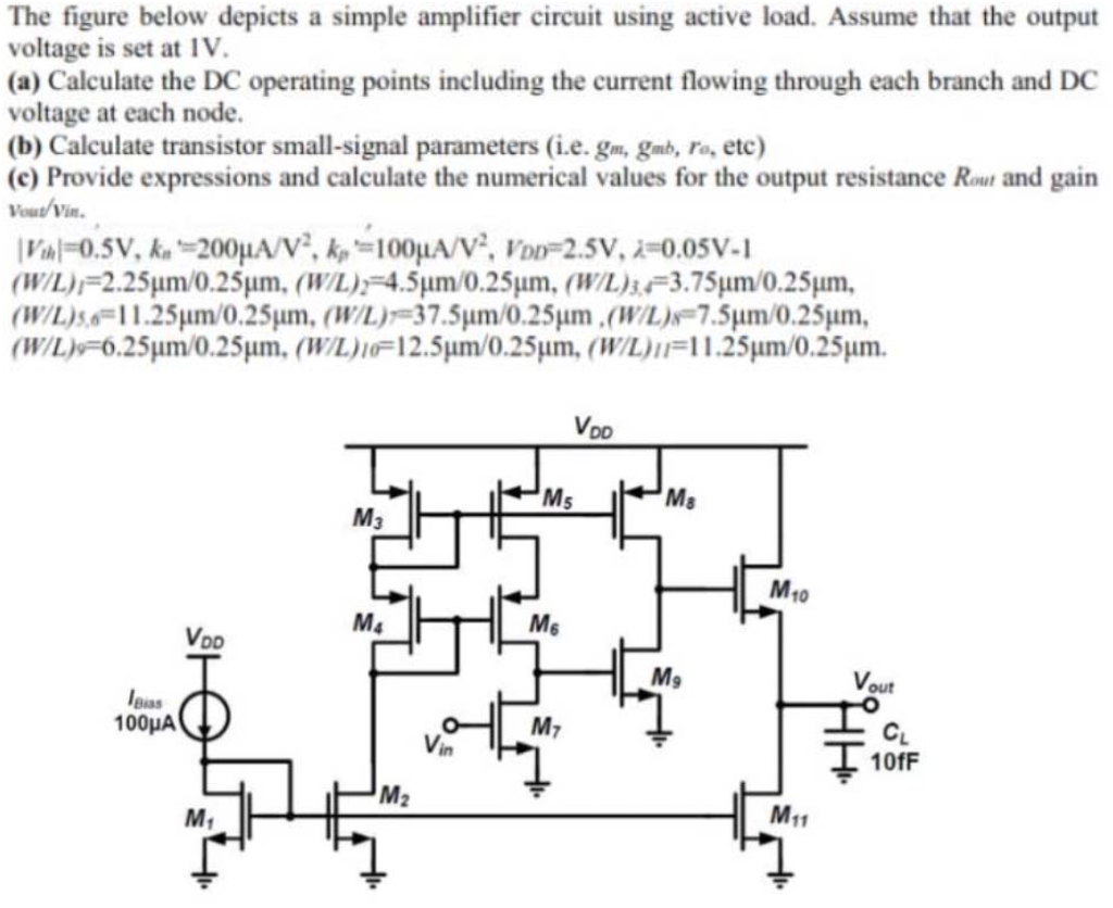 Basic Amplifier Circuit Input Signal Amplifiercircuit Question The Figure Below Depicts A Simple Using Active Load Assume That Output