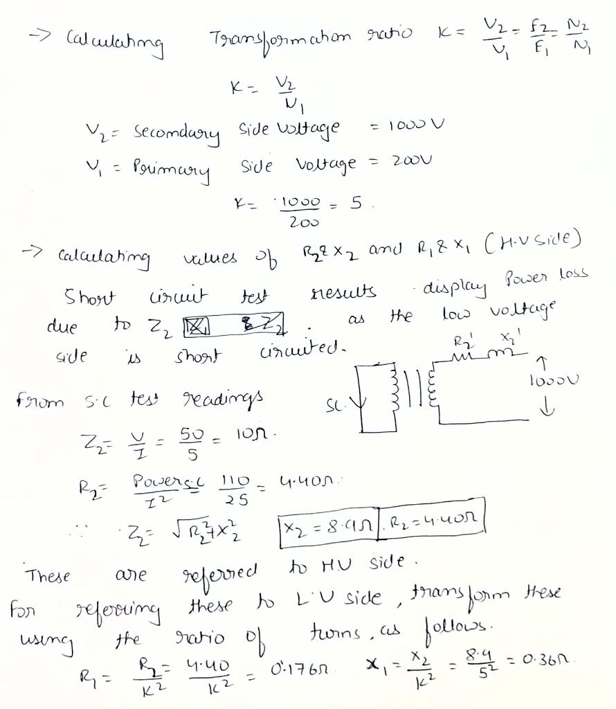 -> Calculating villes Mim -> calculating Transformation ratio k= 2 = f 2 N2 ū - K= V2 = Secondary Side voltage = 100V Y = Pri