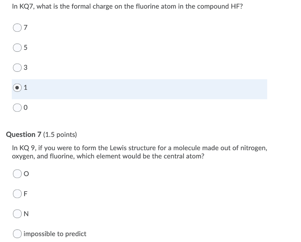 Solved In Kq7 What Is The Formal Charge On The Fluorine Chegg Com
