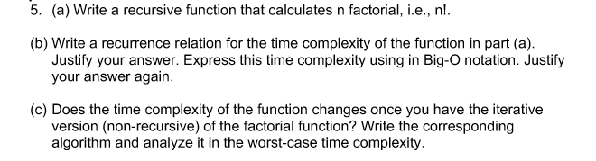 solved 5 a write a recursive function that calculates
