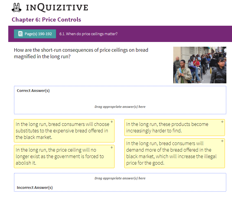 Solved: INQUIZITIVE Chapter 6: Price Controls Page(s) 190
